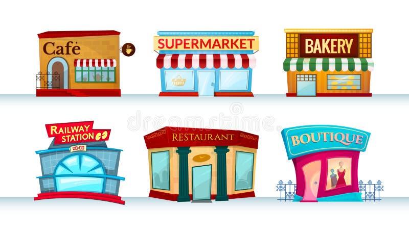 Different City Facilities Vector Illustration Stock