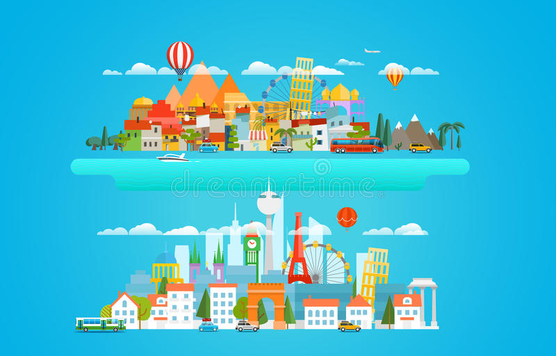 Different cityscapes vector illustration stock illustration