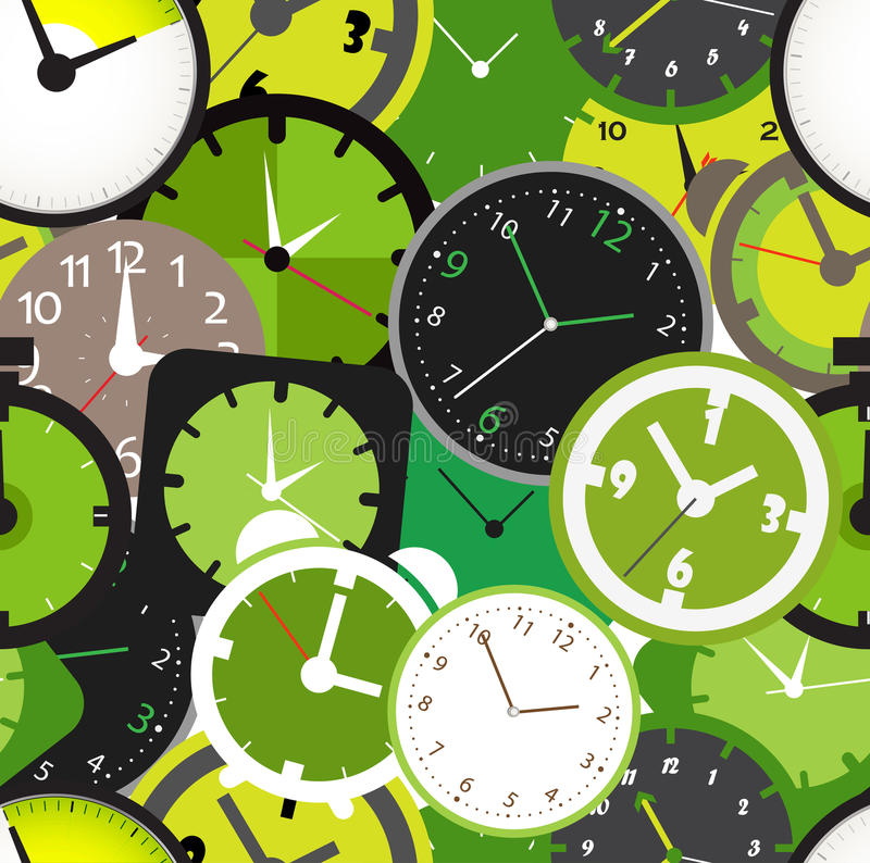 Different clocks. Seamless pattern of different clocks vector illustration