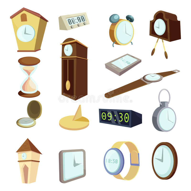 Different clocks icons set, cartoon style. Different clocks icons set. Cartoon illustration of 16 different clocks vector icons for web royalty free illustration