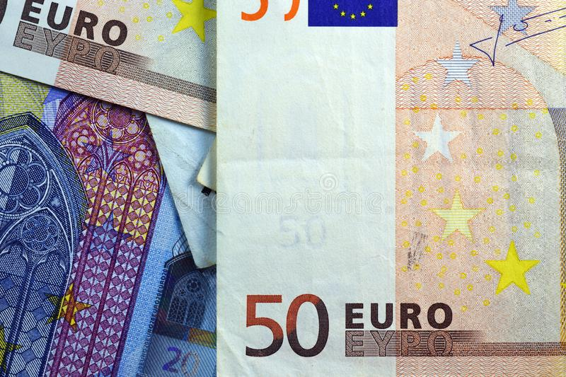 Different Close up EURO Bank note and currency.  stock images