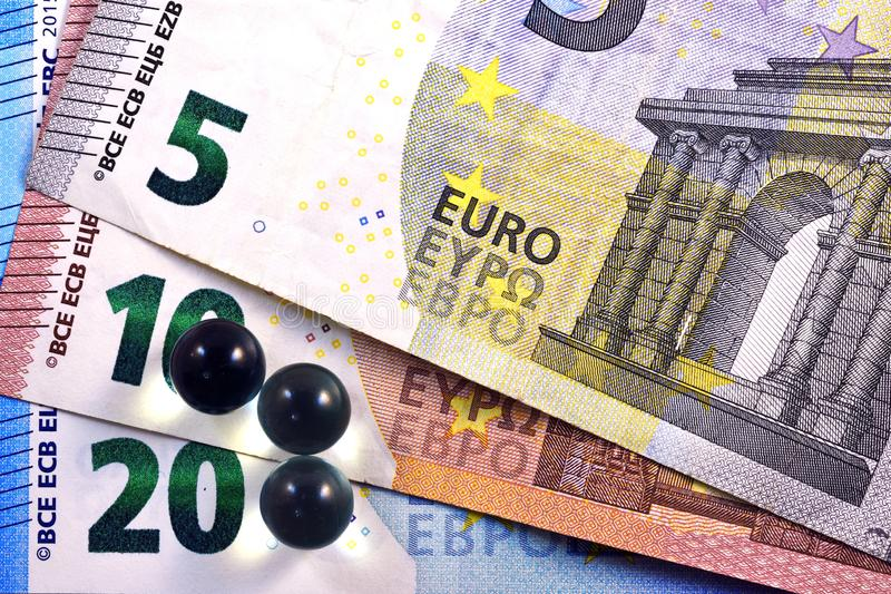 Different Close up EURO Bank note and currency.  royalty free stock photos