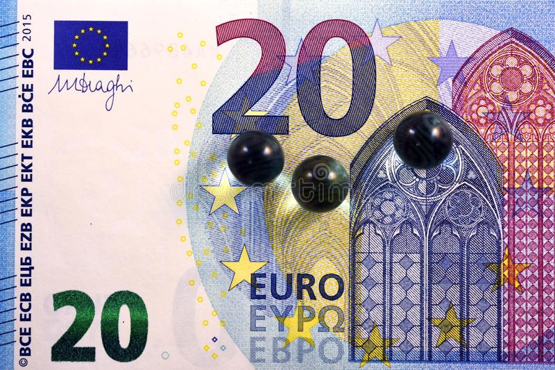 Different Close up EURO Bank note and currency.  stock photography
