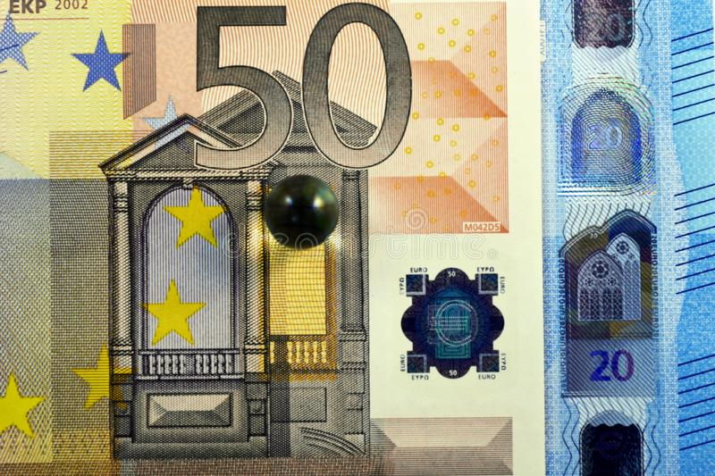 Different Close up EURO Bank note and currency.  royalty free stock photography