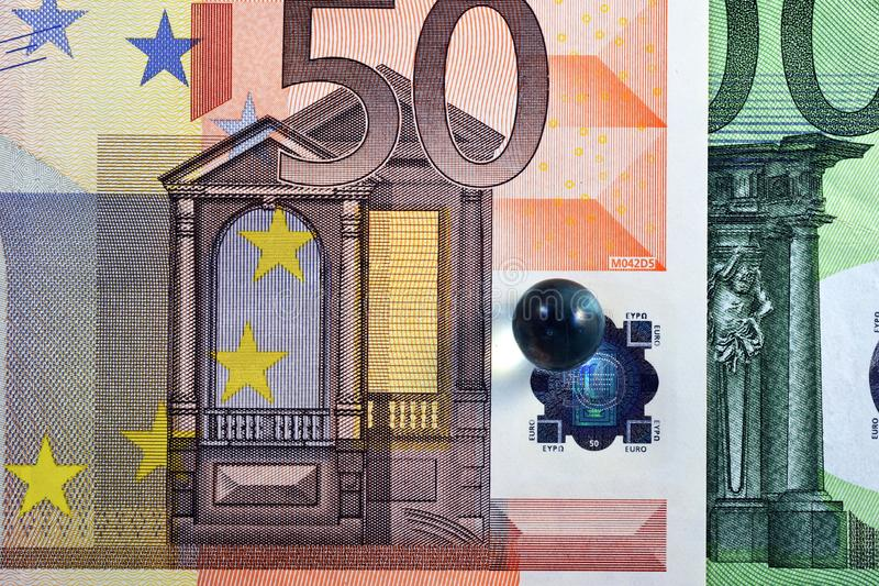 Different Close up EURO Bank note and currency.  stock image