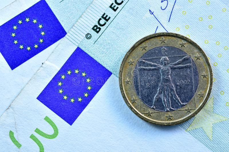 Different Close up EURO Bank note and currency.  stock photos