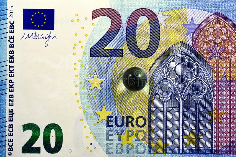 Different Close up EURO Bank note and currency.  royalty free stock images
