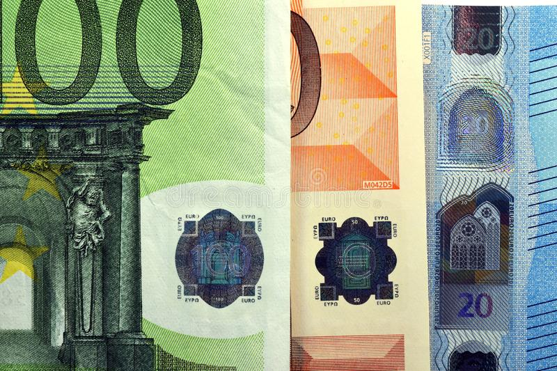 Different Close up EURO Bank note and currency.  royalty free stock image