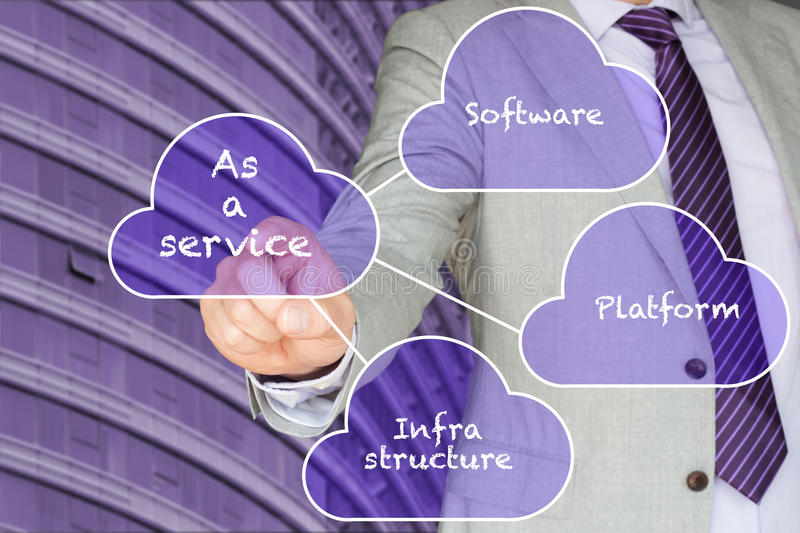 Different cloud services. Platform,Infrastructure and software presented by a businessman in front of an office building in purple royalty free stock photo