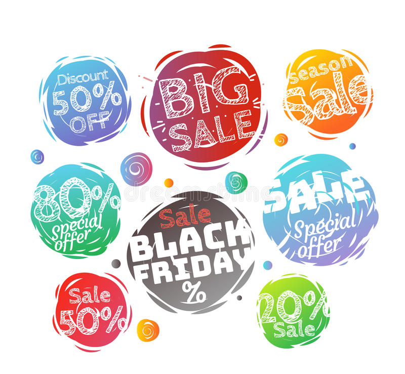 Different colo sale banners vector collection. Web promo banners set isolated on white royalty free illustration