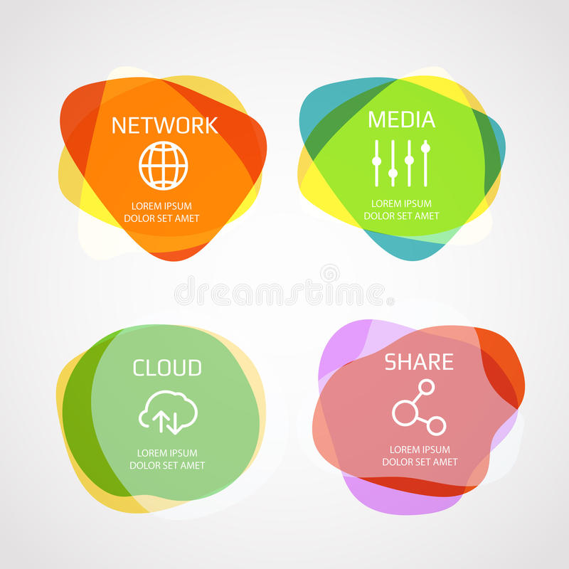 Different color blobs with template text. Vector elements clip-art vector illustration