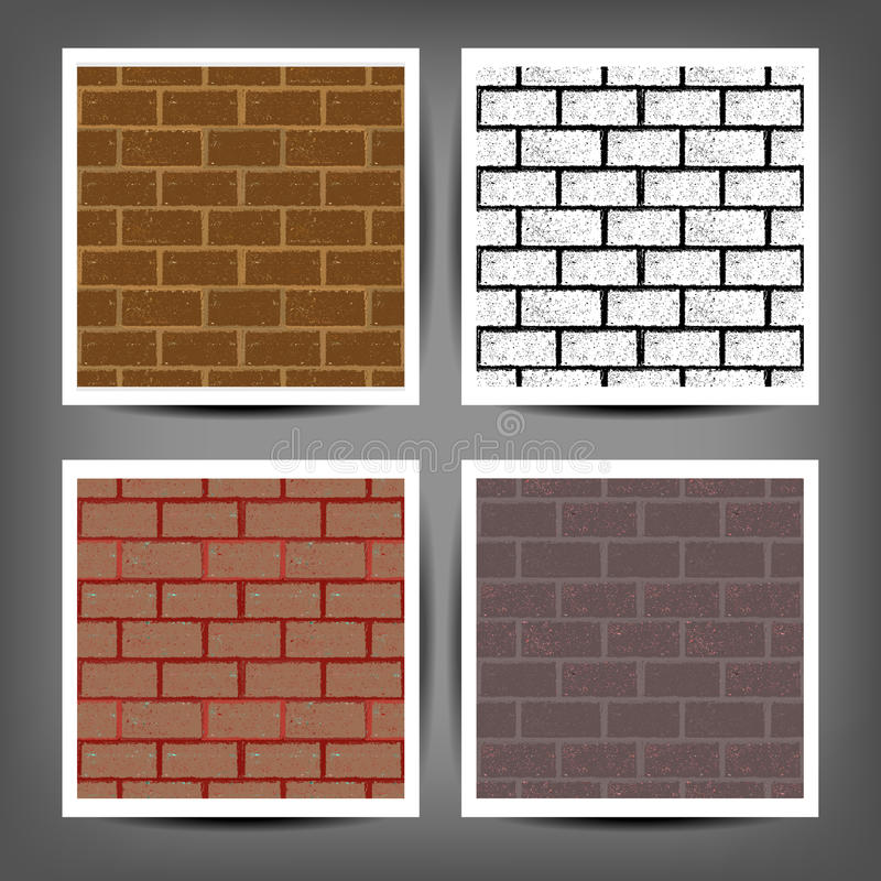 Different color brick textures collection stock illustration