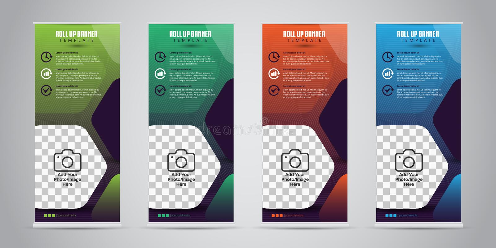 4 Different Color Business Roll Up Standee Design Banner Template