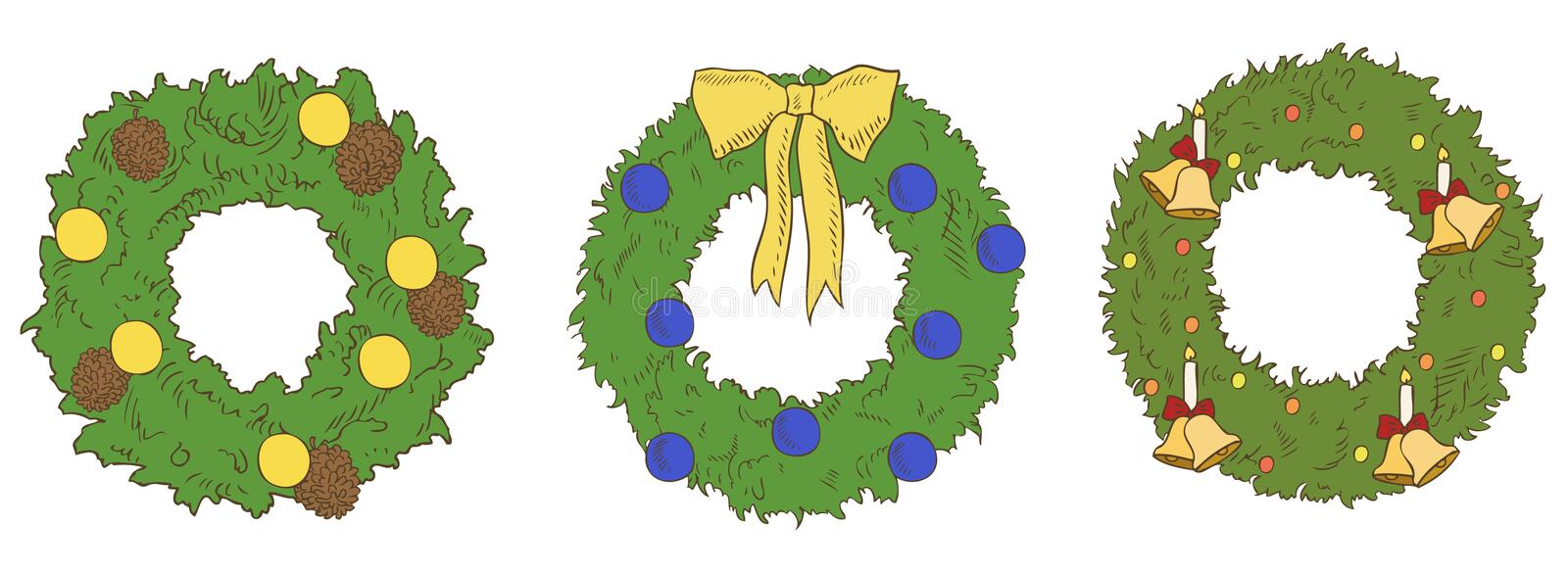Different Color Christmas Wreaths Royalty Free Stock Photos