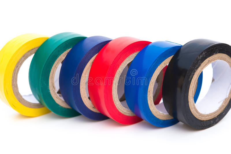 Different color electrical tapes royalty free stock photography