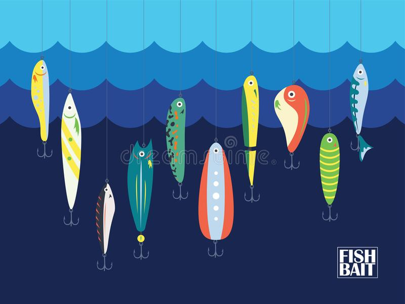 Different Color Fishing Bait with Big and Small Cartoon Fishes in the Ocean or Sea. Blue Marine Background With Baits for Postcard. S or Posters, Textiles or royalty free illustration