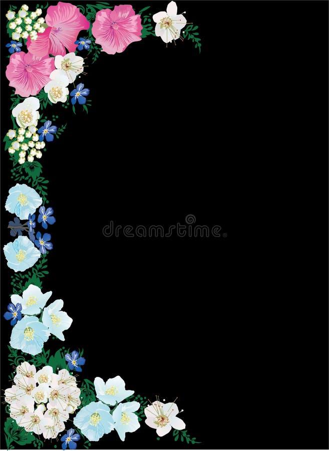 Different color flowers half frame on black royalty free illustration