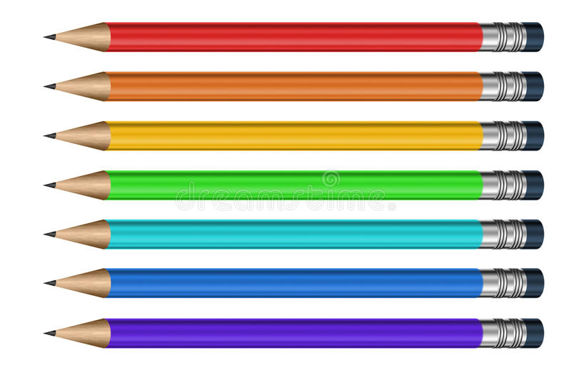 Different color pencils with erasers royalty free stock images