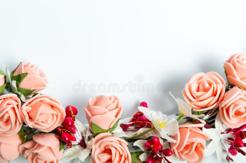 Different color of roses on the white background isolated royalty free stock photography