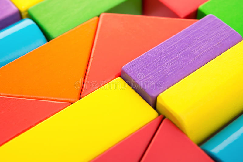 Different color and shape toy blocks stock image