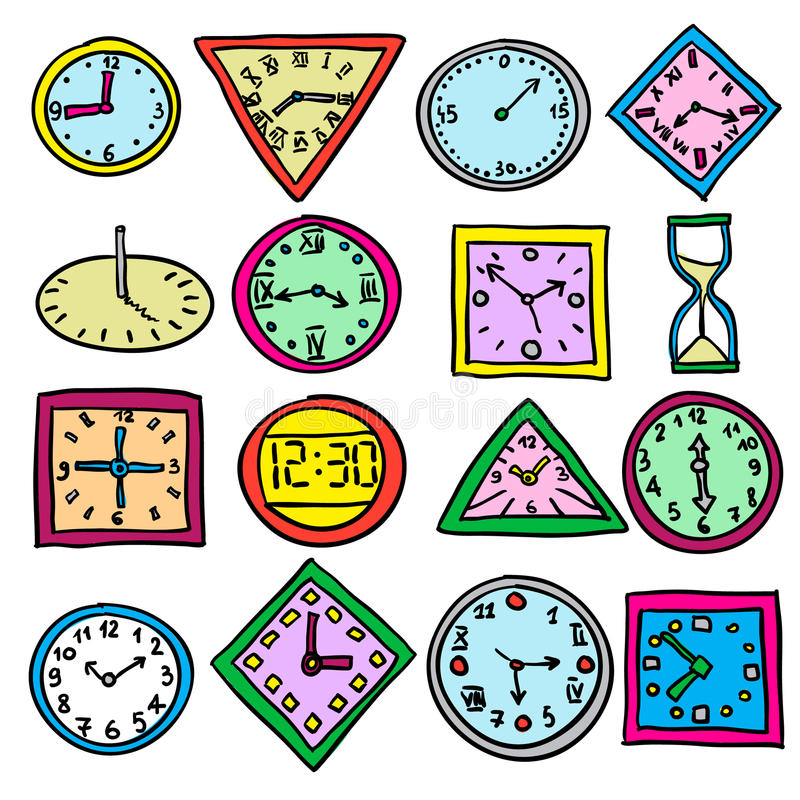 Different color timer icons collection isolated on white. Vector Set of Different color clocks isolated on white royalty free illustration