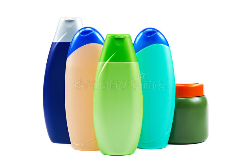 Different color tubes and bottles for hygiene, health and beauty royalty free stock photos