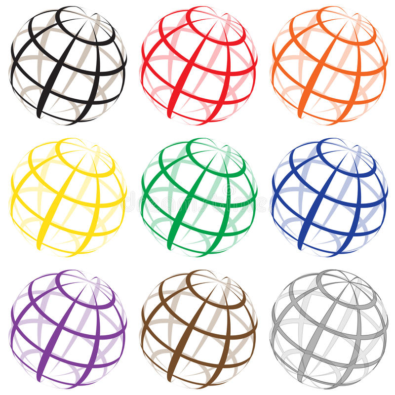 Earth. Wire frame earth or globe logos in different colors royalty free illustration