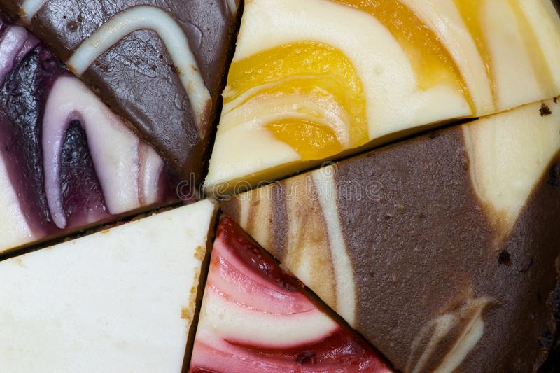 Colorful cheesecake slices in a pinwheel. stock photography
