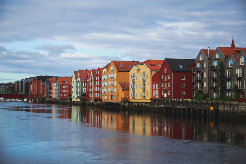 A different colored houses in Trondheim, Norway. Trondheim panoramic view with different colored houses and embankment, Norway stock photography