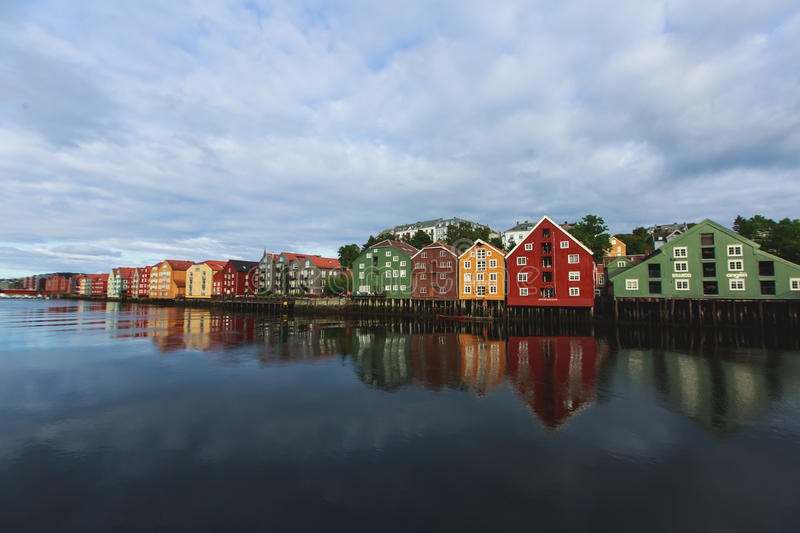 A different colored houses in Trondheim, Norway. Trondheim panoramic view with different colored houses and embankment, Norway royalty free stock photos