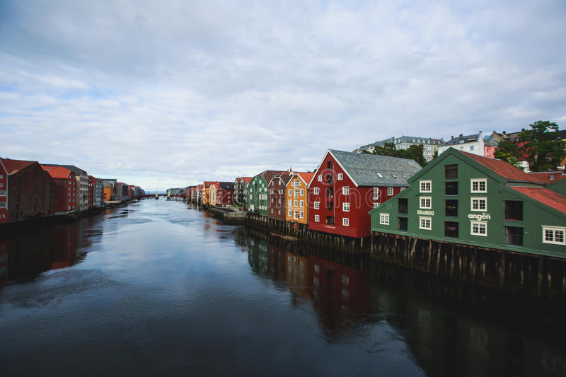 A different colored houses in Trondheim, Norway. Trondheim panoramic view with different colored houses and embankment, Norway stock photos