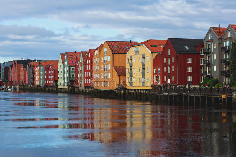 A different colored houses in Trondheim, Norway. Trondheilm panoramic view with different colored houses and embankment, Norway stock photos