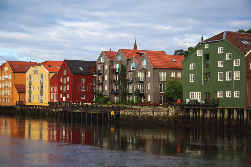 A different colored houses in Trondheim, Norway. Trondheilm panoramic view with different colored houses and embankment, Norway stock images