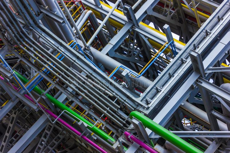 Colored piping refinery stock photography