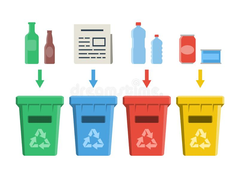 Different colored recycle bins, waste management concept vector illustration
