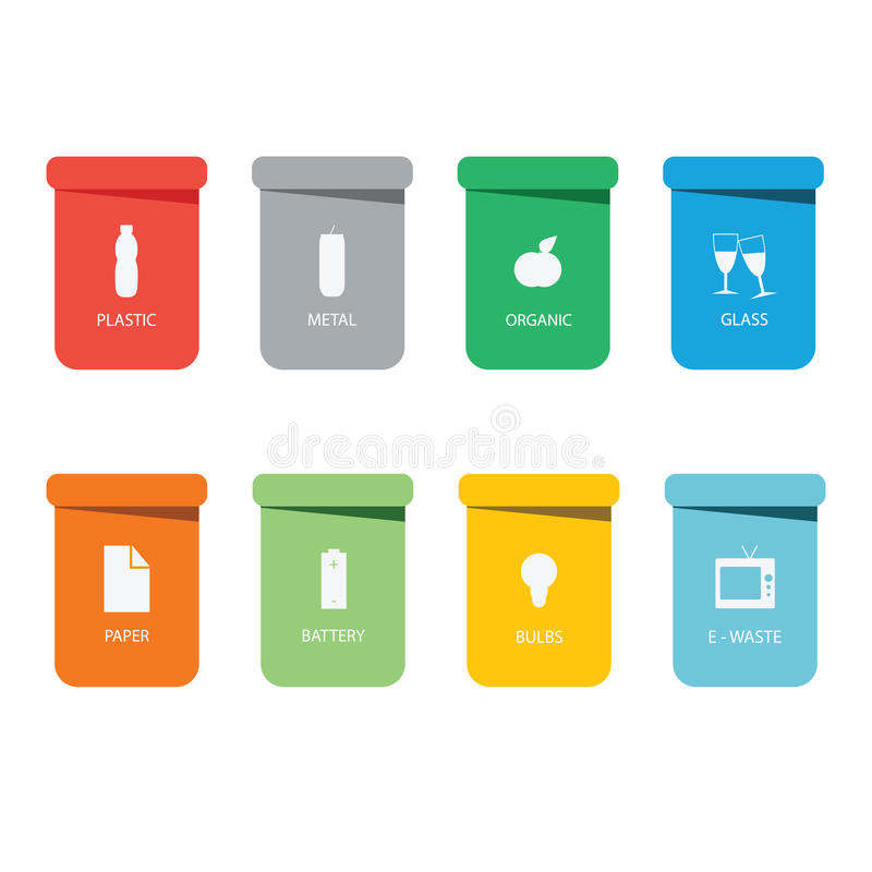 Different colored recycle waste bins vector illustration.Colored waste bins with trash.  royalty free illustration