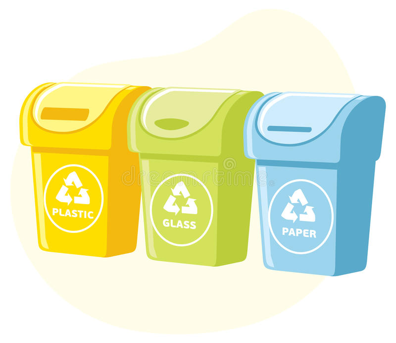 Different colored recycle waste bins. Vector illustration, Waste types segregation recycling. plastic, paper, glass waste stock illustration