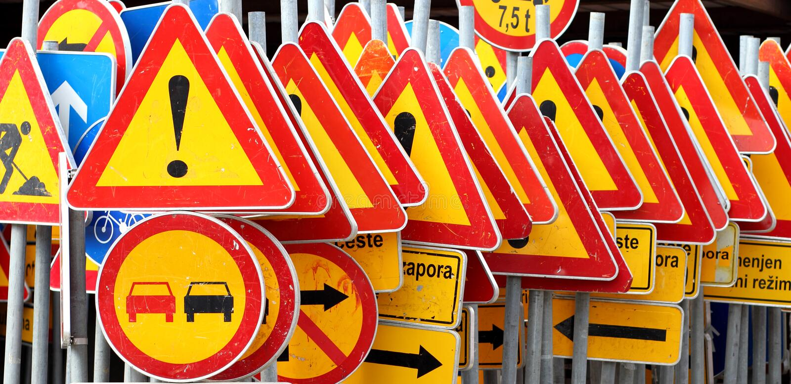 Different colored traffic signs royalty free stock photos