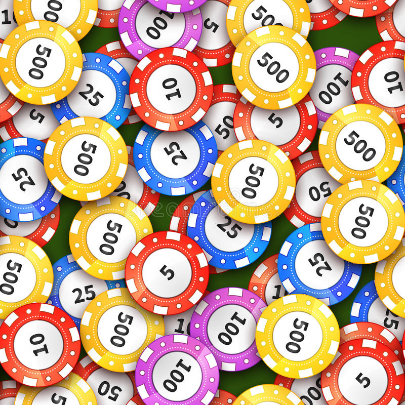 Different colorful casino chips on green cloth, seamless pattern vector illustration