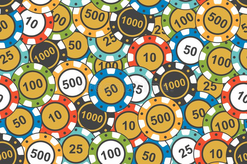 Different Colorful Casino Chips. seamless pattern. Different colorful casino chips on white background, seamless pattern royalty free illustration