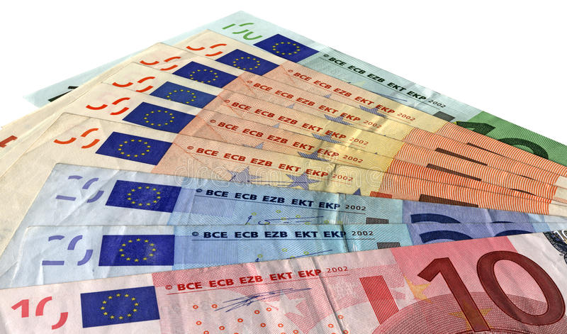 Different colorful euro isolated, savings wealth royalty free stock photo