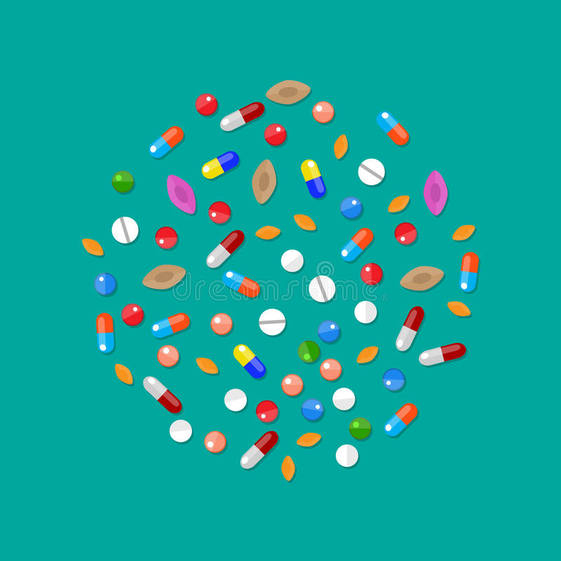Different colorful medical pills capsules tablets vector illustration