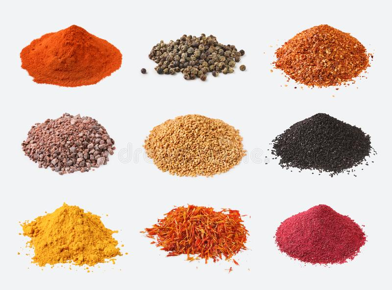 Different kinds of spices on white background stock photos