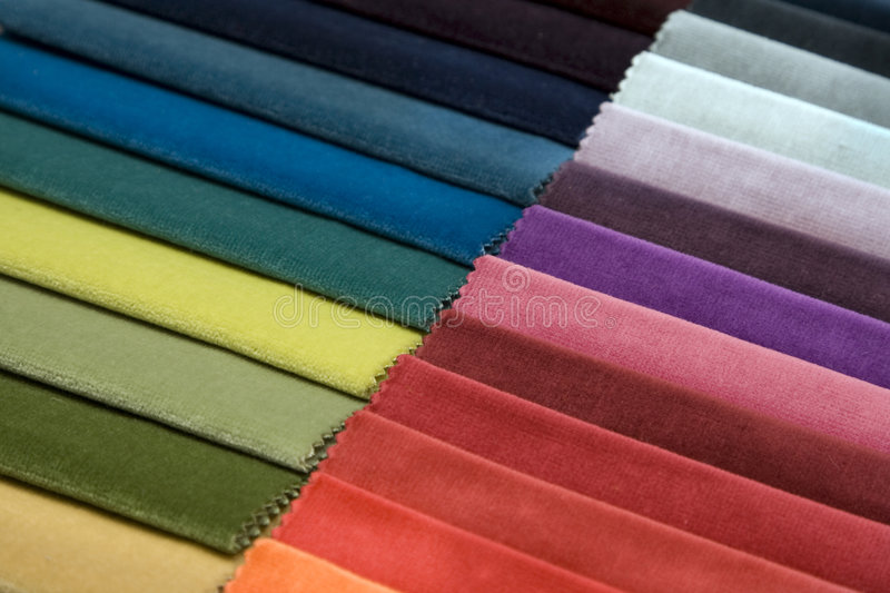 Different colors of fabric. Velvet fabric in different color can serve as background royalty free stock image