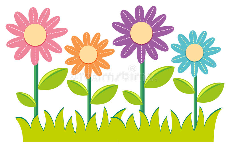 Different colors of flowers vector illustration