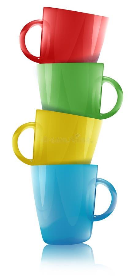 Glass mugs stacked in illustration stock illustration