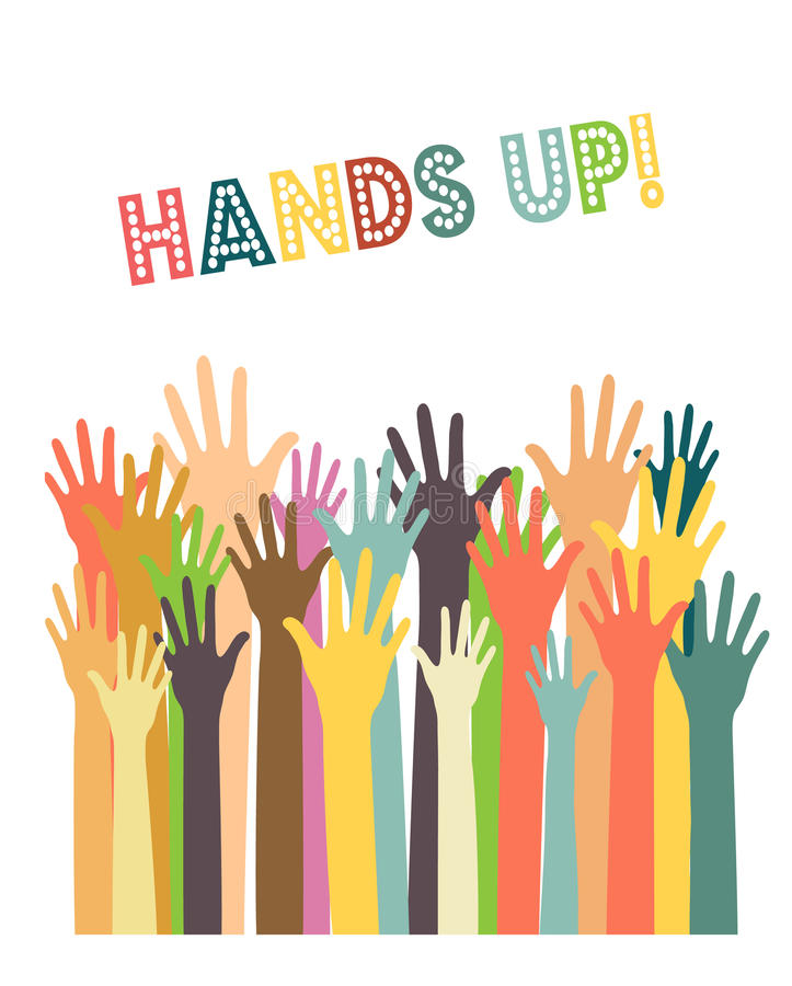 Different colors hands up royalty free illustration