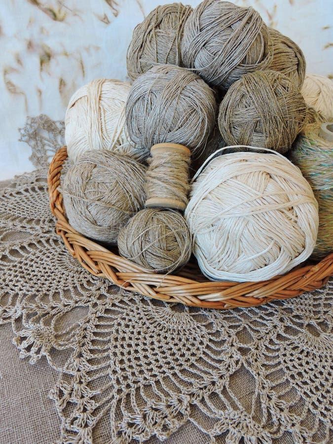 Linen thread balls for handicraft royalty free stock images