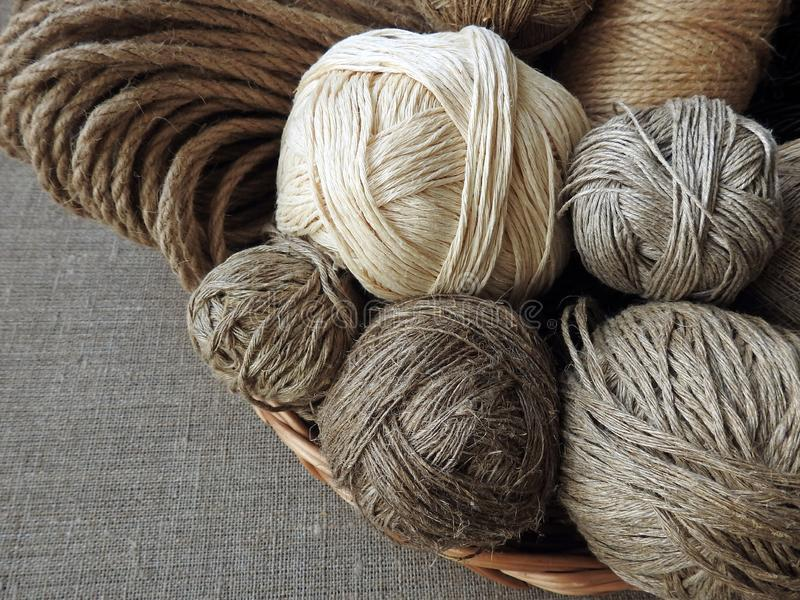 Different colors and shape linen thread stock image