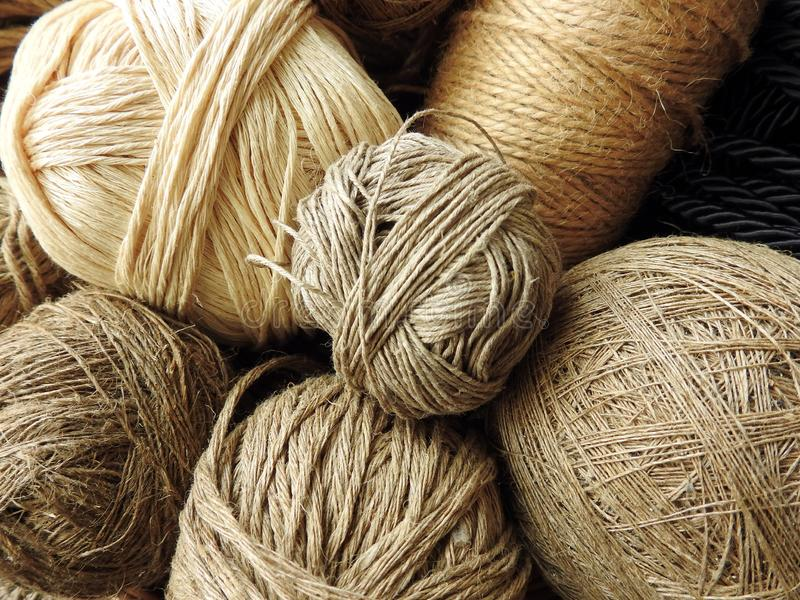 Different colors and shape linen thread stock photos